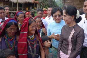 Suu Kyi speaks to villagers in the hamlet of Daw Le Du, home to just 52 households and located on a remote hilltop in Karenni's Shadaw Township. (PHOTO: DVB)
